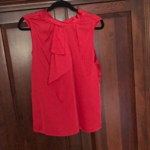 Red Sleeveless Blouse with Ruffle Detail